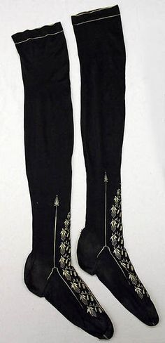 Stockings, 1830's, European, Made of silk
