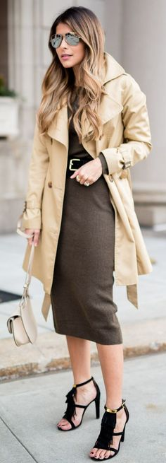 Trench On Sweater Dress Fall Street Style Inspo by The Girl From Panama