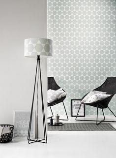 Grafisch grijs behang - Room Blush