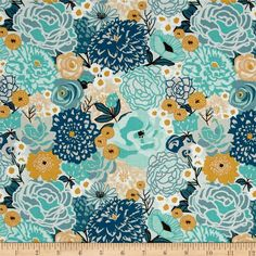 Riley Blake Ava Rose Main Blue from @fabricdotcom  Designed by Deena Rutter for Riley Blake, this cotton print fabric features  colorful spring blooms in vibrant hues. Perfect for quilting, apparel and home decor accents. Colors include white, brown, mustard, tan, beige, cream and shades of blue.
