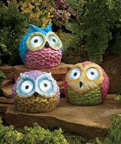 Solar Spotlight Garden Owls