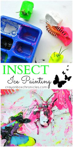 Melting Insect Sensory Painting by Crayon Box Chronicles.  Explores process-based art and movement with ice painting. Spring Sensory Play Series.