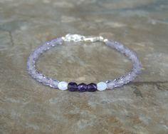 Simple Purple Bracelet for Women, Dainty Bracelet for Her, Dainty Delicate Bracelet, Light Purple Minimalist Bracelet, Everyday Bracelet by lelizabethjewelry on Etsy https://www.etsy.com/listing/535437566/simple-purple-bracelet-for-women-dainty