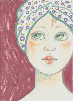 ACEO Original Art Woman with Towel On Head Pencil and Metallic Marker OOAK