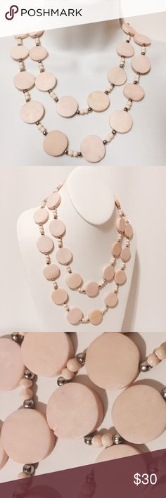 """☀️ Vintage Cream Soapstone Necklace Lovely and unique. @1965 Irregular circles with small silver and tonal circles. Small chip on one circle (photo 3). Single strand, can be worn doubled as shown 44"""" long Fashion jewelry Jewelry Necklaces"""