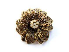 Brass Filigree Flower Brooch Vintage White by ReneeMaeVintage