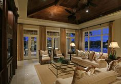 Family Room with stained wood ceiling...