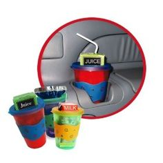 """Got Squirts?  No Squeeze™ Juice Box Holder prevents messy squirts from Juice Boxes & Juice Bags - also Milk & Soy!  Our unique patent pending design FITS IN A CUPHOLDER so it's perfect for families """"on the go"""".  Use in Cars, Strollers, Car Seats, at Home -- Anywhere!  Goodbye, Messy Squirts!"""