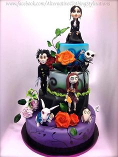 Tim Burton character cake.birthday cake.with zero, beatlejuice, and the mad hatter added