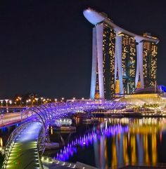 The Helix Bridge, Singapore -- saw this... So cool! There is a swimming pool on top of that building.