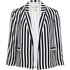 navy stripe blazer - blazers - coats / jackets - women - River Island