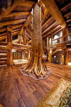 Log Cabin Style Living Room & Loft Designs Amazing ceadar as family tree in great room. Round log post-and-beam home by Pioneer Log Homes of British Columbia Loft Design, House Design, Log Home Living, Living Rooms, Log Home Interiors, Rustic Home Design, Log Cabin Homes, Log Cabins, Mountain Cabins