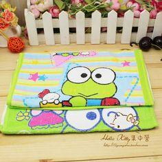 可爱 大眼蛙 Keroppi 绿豆蛙 纯棉卡通小毛巾 小方巾 面巾 毛巾-淘宝网