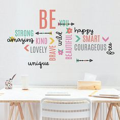 Be inspired by Kirkland's selection of wall quotes! Our wall sayings and word signs will fill the walls of your home with wisdom for your everyday life. Girls Room Wall Decor, Girl Bedroom Walls, Wall Decals For Bedroom, Kids Wall Decals, Wall Stickers, Wall Art Decor, Office Wall Decals, Bedrooms, Quotes For Bedroom Wall