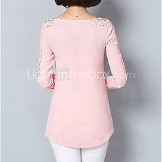 Women& Going out Formal Work Sexy Street chic Sophisticated All Seasons Spring Shirt,Solid Asymmetrical Long Sleeve Blue Pink White Green 2017 - Stylish Tops For Girls, Trendy Tops For Women, Blouses For Women, Street Style Chic, Spring Shirts, Fashion Line, Lace Tops, Casual Chic, Going Out