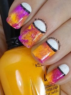 SmooshAttack with Neons and Half Moon - #NPQ #clairestelle8march and #littlemermaidmanichallenge - Leonie's Nailart - IG leonies_nailart