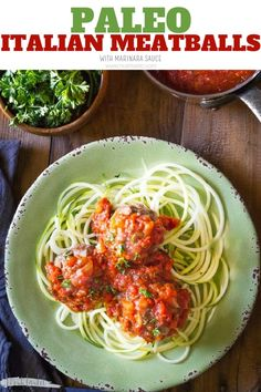 Paleo Italian Meatballs contain no breadcrumbs or grains of any kind. These beef and pork meatballs are baked in the oven and the Marinara sauce is made on the stove, from scratch, with tomatoes, onions, garlic and herbs #zoodles #spiralizer #spiralized #paderno #paleo #whole30 #w30 #paleomeatballs #paleodinner #paleomains #whole30dinner #whole30mains