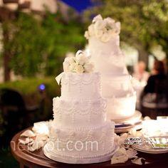 Two White Wedding Cakes