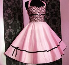 Warm Dresses, 50s Dresses, Rockabilly, Pink Roses, Pin Up, Vintage Outfits, Feminine, Cosplay, Costumes