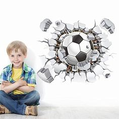 FairyTeller Flying Football Through Wall Stickers Kids Room Decoration Diy Home Decals Soccer Funs Gift 3D Mural Art Sport Game Poster 1487 * You can get more details by clicking on the image.