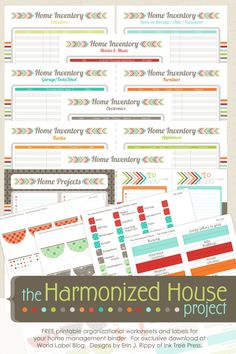 """Inventory Control is part three of this really awesome organizing Family Planner""""The Harmonized House Project""""It is designed by Erin Rippy ofInkTreePress.comand is FREE for download. This is part one of several collections to come to help you organizeyour home withthe Harmonized House Project planner-:) Here is theFamily Calendar Worksheet. These ..."""