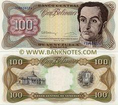 """Esté #Billete de Bs 100,oo circulo en #Venezuela desde el #Año1987 hasta #Año1998 Front: Portrait of  #SimónBolívar (1783-1830). Back: Building of the National Capitol in Caracas. Coat of arms. Watermark: Portrait of Simón Bolívar; """"B C""""."""