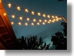 Bistro lights from wedding on back patio