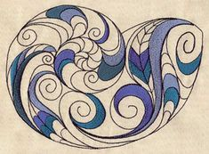Nautilus Shell Embroidery design (UT3245) from UrbanThreads.com