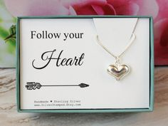 Follow your heart  Birthday gift for her  by SilverStamped on Etsy
