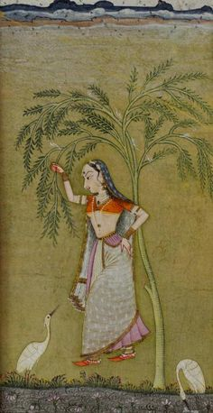 An Indian miniature painting. Opaque watercolour on paper, 19th century