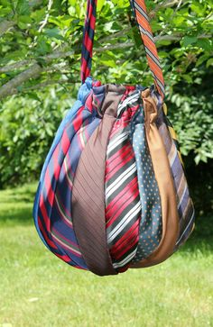 When your husband retires and you don't have a clue what to do with all those ties, make a Necktie Hobo Bag.
