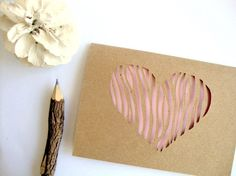 Woodgrain Heart Card  Pink Paper Cut Note by AshleyPahl