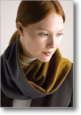 """cowl: Finished Size: 7"""" wide at narrowest point    Fabric Requirements:    - 1/2 yd each of 2 colors of very soft wool, cashmere, or sueded rayon"""
