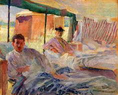 'The Camp in the Oatfield' 1915. Ten oil paintings by Victor Tardieu (1870-1937) record the tented field hospital established and run by Millicent, Duchess of Sutherland (1867-1955) at Bourbourg, twelve miles south-west of Dunkirk.