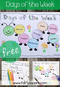 Kindergarten Activities: Days of the week caterpillar – Fairy Poppins Days Of The Week Activities, Days Of A Week, Preschool Learning Activities, Toddler Learning, Kindergarten Worksheets, Early Learning, Preschool Activities, Free Worksheets, Family Day Activities