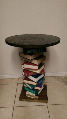 Wood Side Table Made With A Spiral Of Books, Repurposed Book Table; Readers  Digest