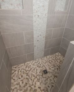 Contemporary Master Bathroom with Sliced Java Tan and White Pebble Tile, Daltile Avondale Castle Rock Glazed Porcelain Pebble Tile Shower Floor, Tile Floor, Dal Tile, White Pebbles, Bathroom Design Small, Master Bathroom, Home Improvement, Flooring, Castle Rock