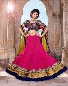 Pink Netted Wedding Lehenga Choli Online Shopping ,Indian Dresses - 1