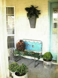 Metal bench and pots