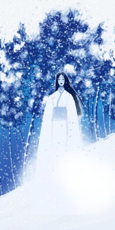 """The theme was """"ghost"""" so I drew Yuki Onna, one of my favourite horror stories in Japanese folklore. Japanese Mythical Creatures, Mythological Creatures, Fantasy Creatures, Japanese Mythology, Japanese Folklore, Japanese Urban Legends, Yuki Onna, Fantasy Setting, Conte"""