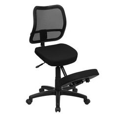 Mobile Ergonomic Kneeling Task Chair w Black Curved Mesh Back