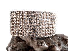 Rhinestone Pave Bracelet - Vintage Cuff by ReTainReUse on Etsy