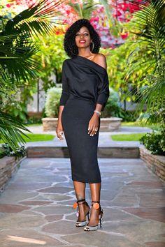 Style Pantry | Black Slouchy Off Shoulder Midi Dress