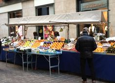 Fresh vegetables and fruit stand in center city Como, Italy