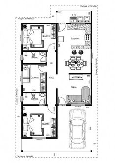 Edit for flat roof 88 2bhk House Plan, Narrow House Plans, Three Bedroom House Plan, Simple House Plans, House Layout Plans, House Plans One Story, Dream House Plans, Modern House Plans, House Layouts
