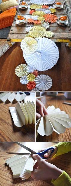 DIY pinwheel table runner - tutorial from green wedding shoes, here: http://greenweddingshoes.com/diy-pinwheel-table-runner/