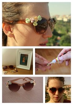 Try super cool and easy diy sunglasses this summer. Use embellishments, paints, sketch pens or tapes and give whole new look to your cheap sunglasses. Flower Sunglasses, Cheap Sunglasses, Diy Glasses, Rocker Style, Pastel Flowers, Diy Frame, Refashion, Diy Clothes, Diy Fashion
