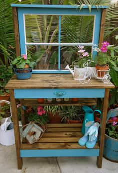 DIY Potting Bench Plans & Ideas To Beautify Your Garden Bright Paint, Warm Stain and a Window Potting Bench With Sink, Pallet Potting Bench, Planter Bench, Potting Tables, Diy Bench, Planter Ideas, Outdoor Garden Bench, Garden Table, Outdoor Decor