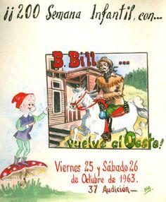 """Cartell il·lustrat per la bibliotecària Natàlia Hernàndez, per informar de l'hora del conte programada pels dies 25 i 26 d'octubre de 1963 en la biblioteca Pare Miquel d'Esplugues. El títol de la narració fou: """"B. Bill... vuelve al Oeste"""""""