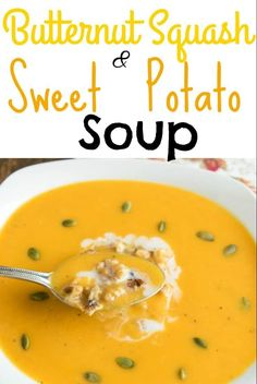 With very few ingredients this Butternut Squash and Sweet Potato Soup is a perfect wholesome dish for those cold and busy week nights. It's vegan and gluten free along with being low in calories | V   GF | kiipfit.com
